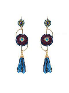 Rhinestone Round Chain Fringed Earrings - Blue