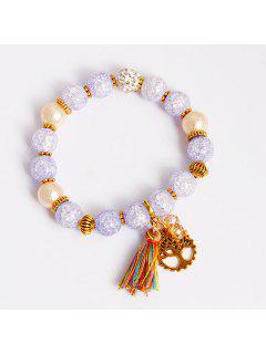 Tree Of Life Tassel Charm Beaded Bracelet - Light Purple