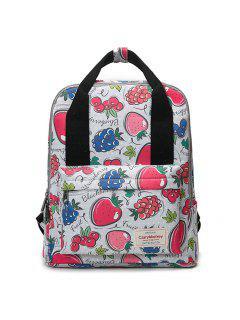 Printed Top Handle Backpack - Red