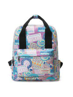 Printed Top Handle Backpack - Purple