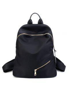 Top Handle Zips Nylon Backpack - Black