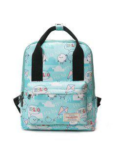 Printed Top Handle Backpack - Green