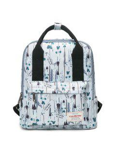 Printed Top Handle Backpack - White