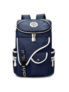 Letter Jacquard Strap Nylon Backpack - Deep Blue
