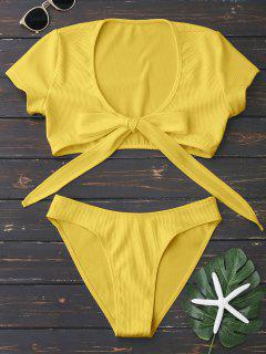 Knot Front High Cut Bathing Suit - Yellow L