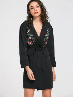 Floral Embroidered Belted Trench Coat - Black S