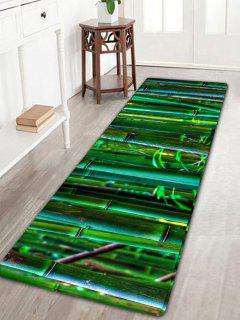 Bamboo Forest Print Flannel Antiskid Rug - Green W16 Inch * L47 Inch