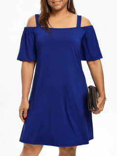 Plus Size Cold Shoulder Half Sleeve Dress - Blue 5xl