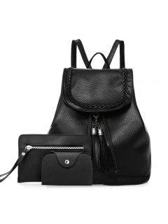Tassel Faux Leather Backpack Set - Black
