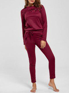 Lattice Cut Out Casual Two Piece Suit - Wine Red M