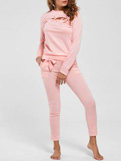 Lattice Cut Out Casual Two Piece Suit - Pink Xl