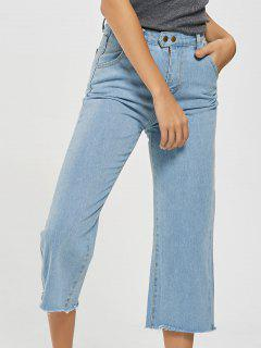 Frayed Hem Light Wash Cropped Jeans - Light Blue M