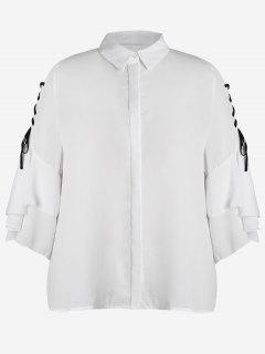 Plus Size Lace Up Sleeve Chiffon Shirt - White 2xl