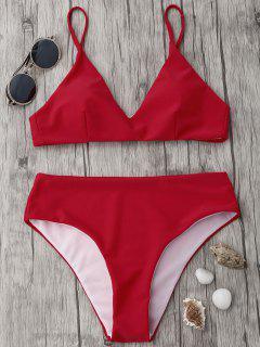 Ensemble Bikini à Bretelles Spaghetti à Taille Haute - Rouge L