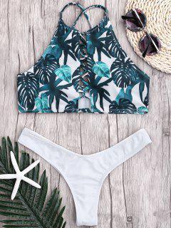 Bikini Strap Acanalado De La Correa De La Hoja - Blanco M
