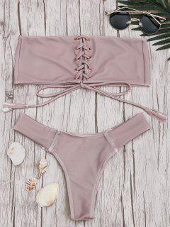 Bandeau Lace Up Bikini Set - Pink L