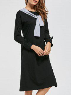 Long Sleeve Front Tie High Slit Dress - Black S