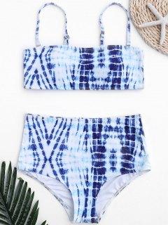 Traje De Baño De Cintura Alta Teñido Anudado - Azul Y Blanco S