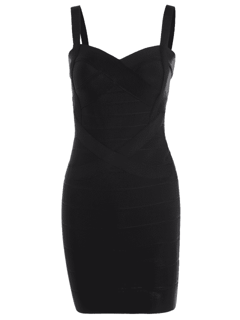 outfits Sweetheart Neck Bodycon Bandage Dress - BLACK L Mobile