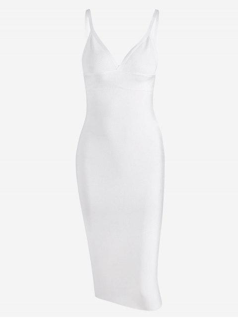 trendy Zippered Cami Fitted Dress - WHITE M Mobile