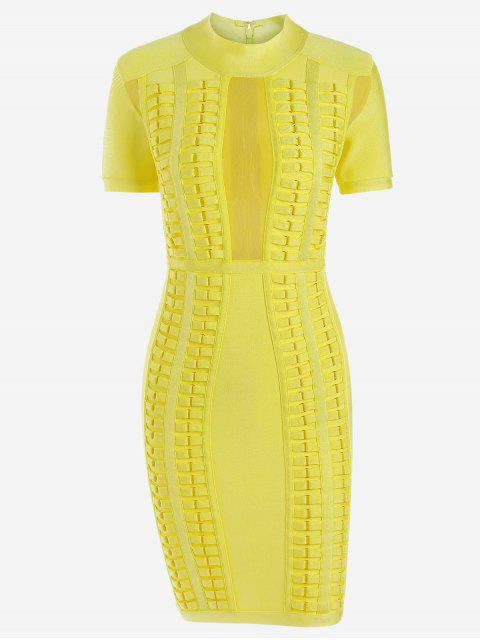 fancy Mesh Panel Bodycon Bandage Dress - YELLOW M Mobile