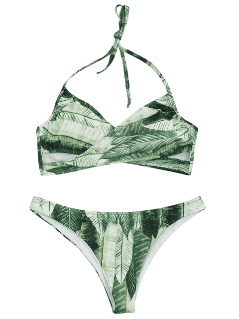 ladies Palm Leaf Print Crossover Bikini Set - GREEN L Mobile