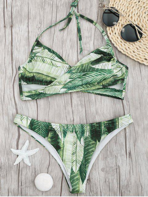 Palm Leaf Print Crossover Bikini Set - Grün S Mobile
