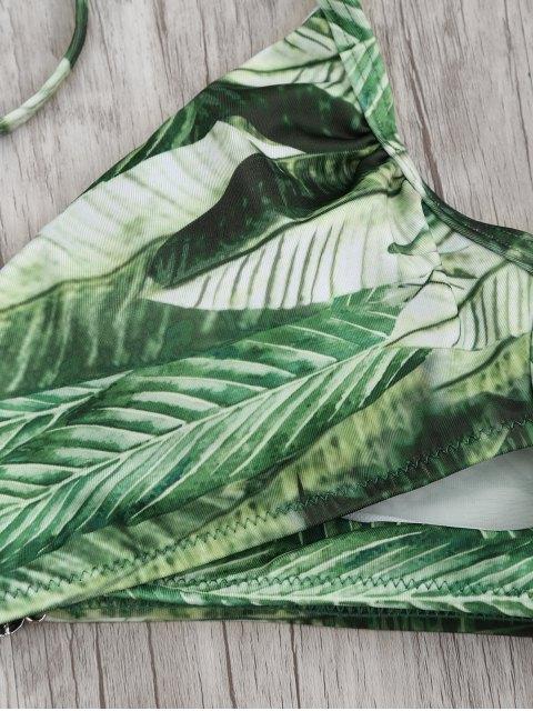 online Crossover Palm Leaf High Cut  Bikini - PINK L Mobile