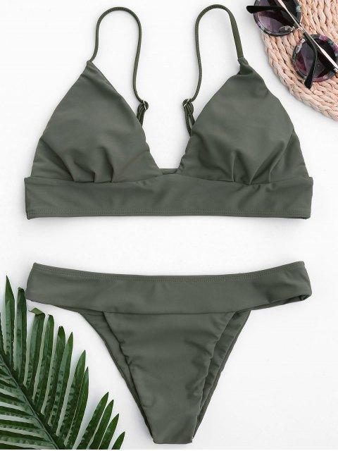 Thong Bralette Bikini - Armeegrün M Mobile