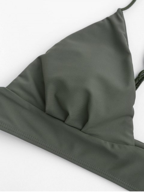 trendy Thong Bralette Bikini - ARMY GREEN S Mobile
