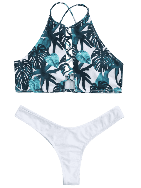 sale Leaf Thong Ruched Strappy Bikini - WHITE M Mobile