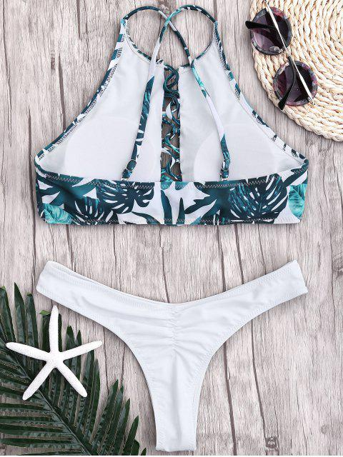affordable Leaf Thong Ruched Strappy Bikini - WHITE S Mobile