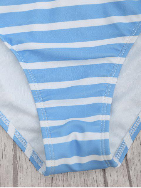 buy Chevron Striped Padded Cami Bikini Set - BLUE AND WHITE L Mobile