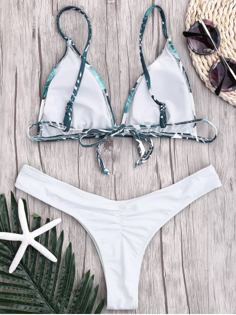 ladies Leaf Print Thong Ruched Bikini - WHITE M Mobile