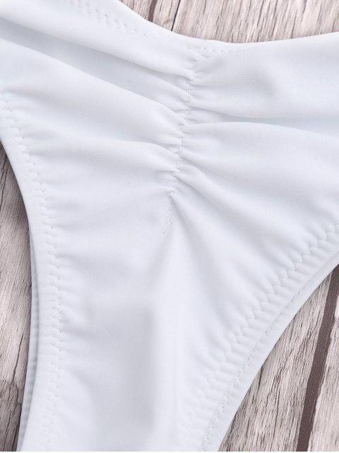 lady Leaf Print Thong Ruched Bikini - WHITE S Mobile