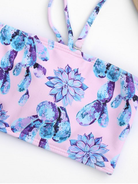 latest Cut Out Lotus Floral Bathing Suit - PINK S Mobile
