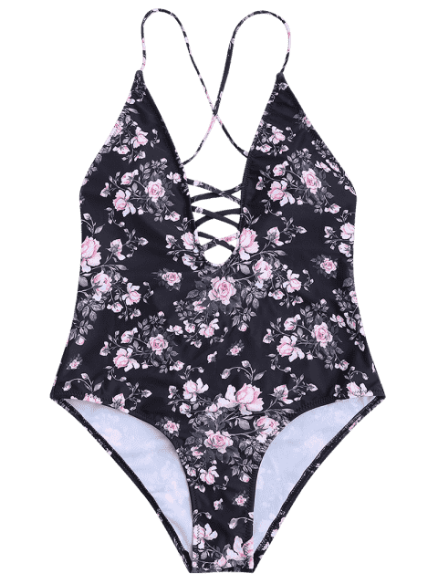 Floral Strappy High Cut One Piece Swimsuit - Noir M Mobile