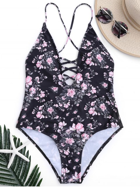 Floral Strappy High Cut One Piece Swimsuit - Noir S Mobile