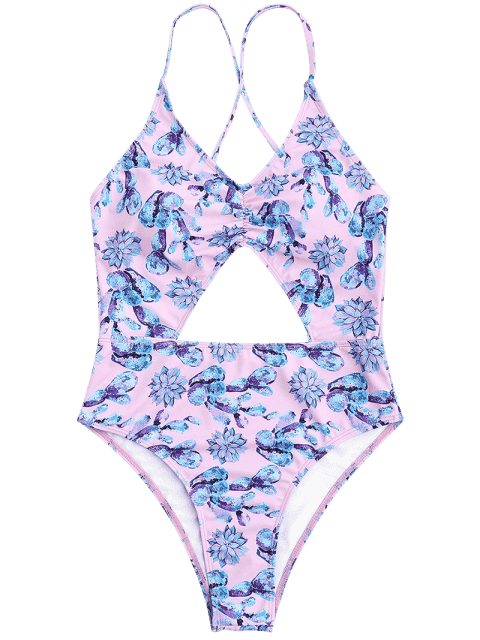 womens Ruched Floral Cut Out High Leg Swimsuit - PINK L Mobile