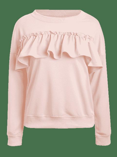 women's Ruffles Jewel Neck Sweatshirt - PINK L Mobile
