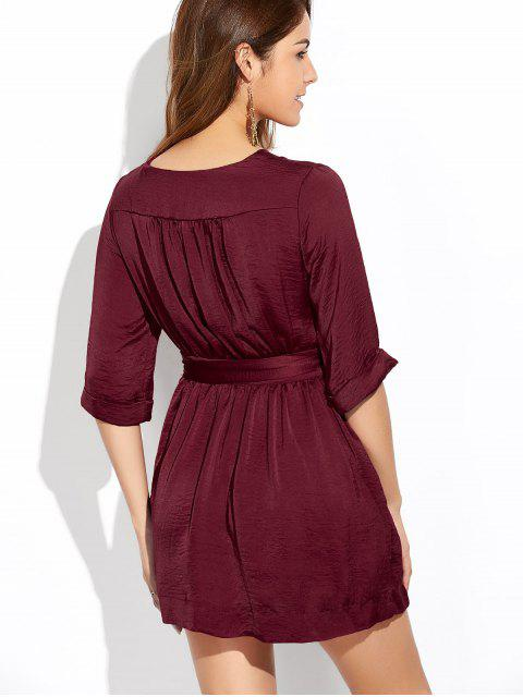 womens Wrap A-Line Dress - WINE RED L Mobile
