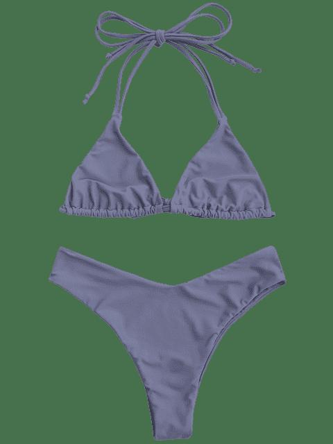 chic Halter Thong Bralette High Cut Bikini - STONE BLUE M Mobile