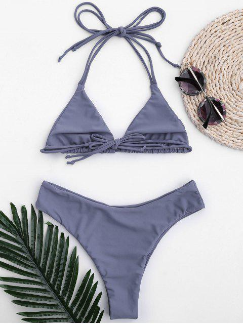 fancy Halter Thong Bralette High Cut Bikini - STONE BLUE S Mobile