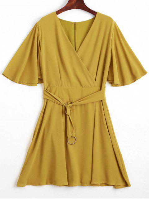 Volant Ärmeln Gürtel Chiffon Kleid - Gelb S Mobile