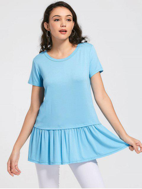 outfit Round Collar Ruched Plain Tee - SKY BLUE S Mobile