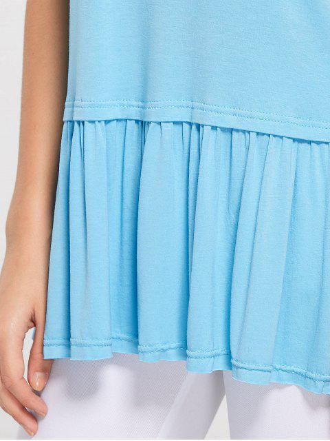 latest Round Collar Ruched Plain Tee - SKY BLUE L Mobile