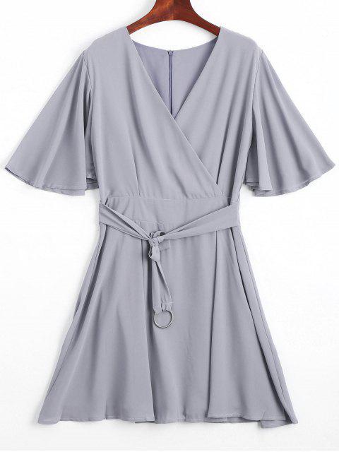 Volant Ärmeln Gürtel Chiffon Kleid - Grau S Mobile