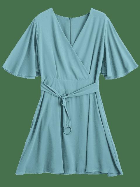 Robe en mousseline de soie à manches courtes Flouncy - Pois Verts S Mobile