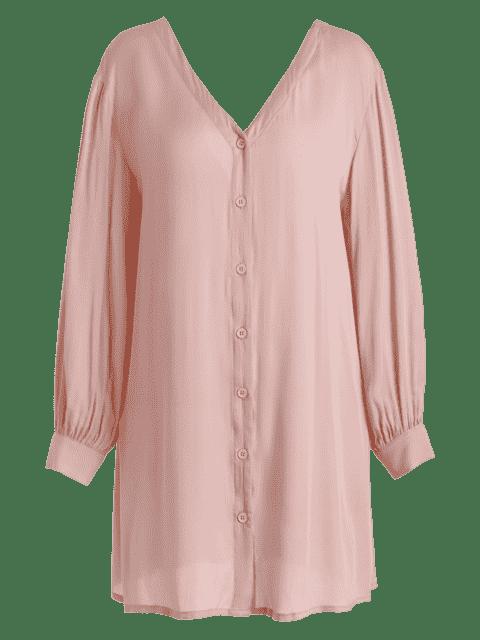 lady V Neck Button Up Mini Dress - PINK L Mobile