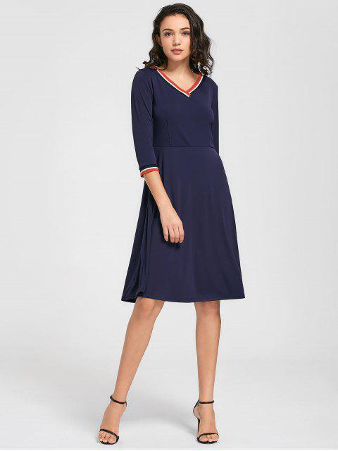 V-Ausschnitt Drei Viertel Ärmel Kleid - Schwarzblau 2XL Mobile